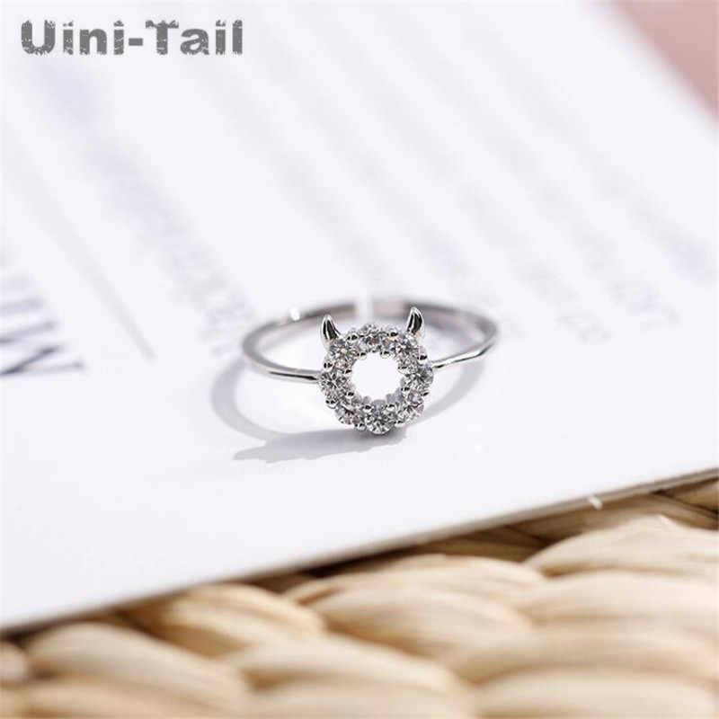 Uini-Coda hot new 925 sterling silver little devil micro tempestato di diamanti anello Coreano di modo di tendenza carino dinamico ad alta-Monili di qualità