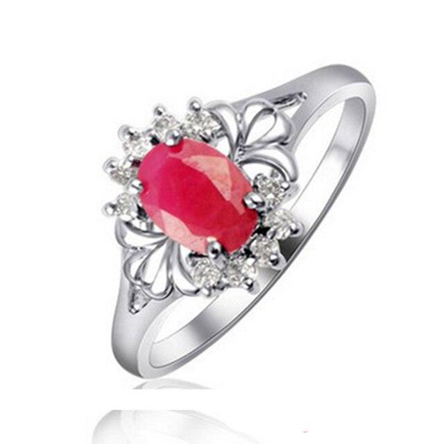 Классический серебро 2017 рубин кольца для женщин 100% натуральный крови красный рубин обручальное кольцо твердые стерлингового серебра 925 рубин кольцо