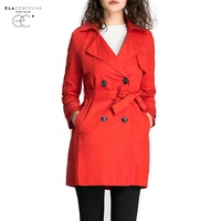 ElaCentelha Women Coats Double Breasted Md Long Trench Coat Women Ashion Belt Cloak Polerones Mujer Windbreaker