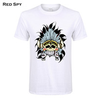 RED SPY tee shirt homme Summer shirts men Indian Skull Print t-shirt Men's clothing Short sleeves tops tees Clown t shirt men