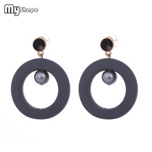 My Shape Pearl Smoke Gray Circle Drop Earrings Geometric Round Hollow Bead Earrings Jewelry Women's Ear Accessories Gifts Alloy(China)
