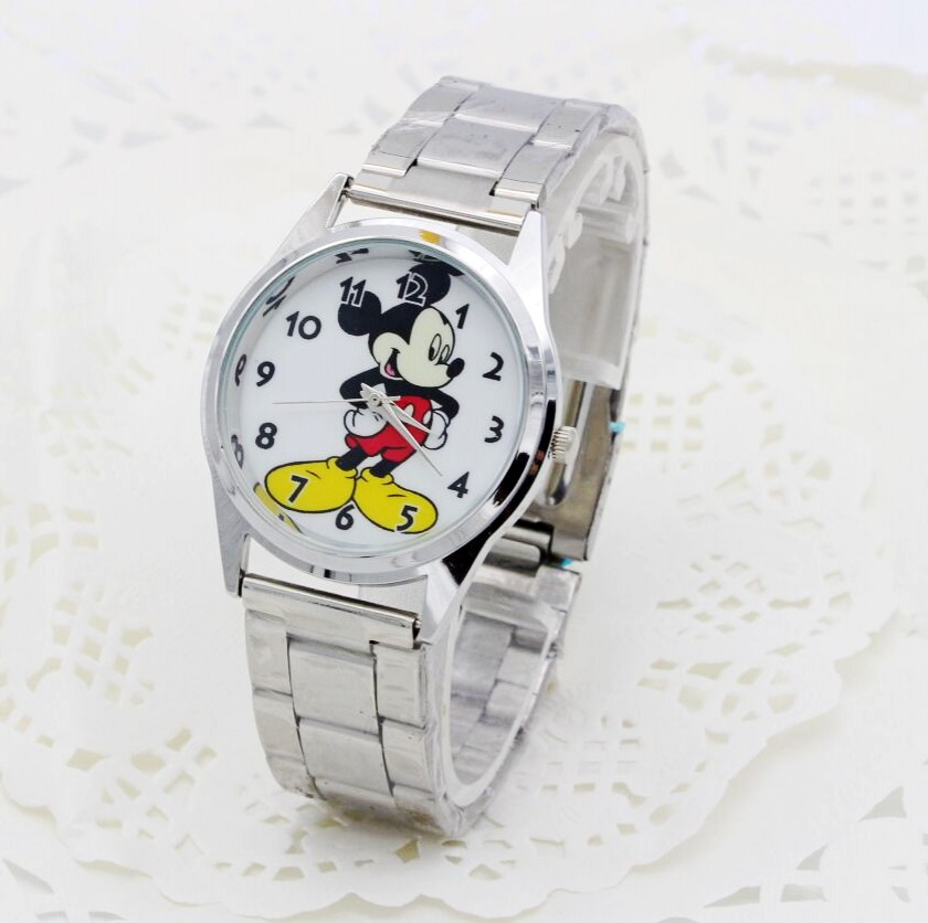 2018 New Fashion Cartoon Minnie Mickey Watch Girls Boy Stainless Steel Watch Fashion Table Ladies Watch Men Women 1pcs