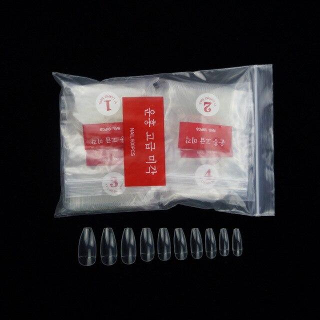 Faux ongles en acrylique en forme de cercueil, 500 pièces X 0-9, demi-couvertures, ballerines, pointes (demi-clair)