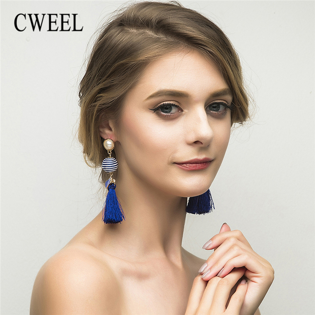 CWEEL Boho Colorful Drop Tassel Earrings Green Indian Ethnic Danging Earrings For Women Wedding Long Hanging Statement Earing