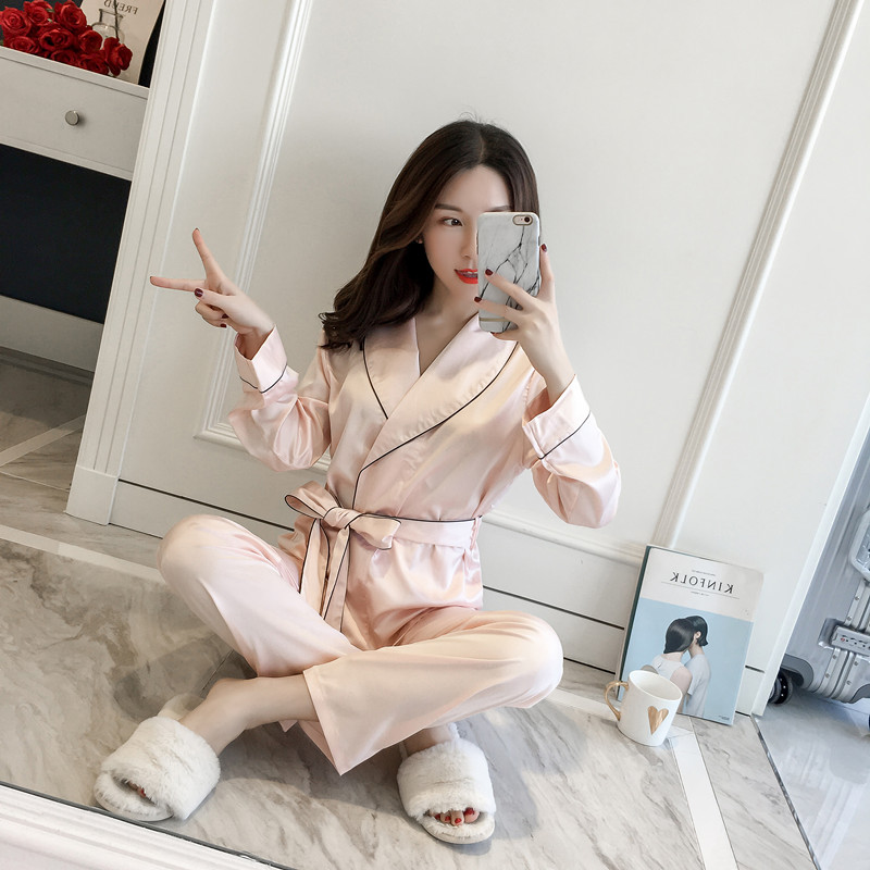 Silk Solid Full Length Pyjamas Womens Clothing   Pajamas   for Women   Pajama     set   sleepwear Homewear Nightgown Nightclothes 2 piece