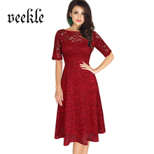 VEEKLE Women Sexy Skater Lace Dress Red Blue Evening Party Bridesmaid Mother Of Bride Short Sleeve Big Size 3XL Renda Robe Femme