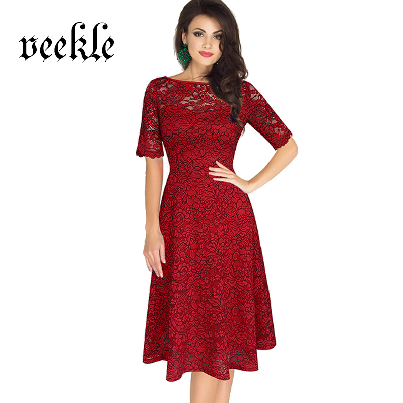 VEEKLE Women Sexy Skater Lace Dress Red s