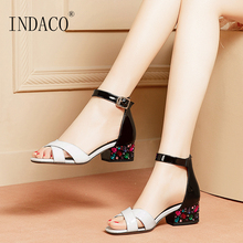 Women Shoes Summer Sandals Leather Ladies Sandals Buckle Strap Thick Heel Party Shoes Rhinestone Heel women faux suede buckle strap platform thick high heel sandals fashion party cover heel print knot bow women shoes black