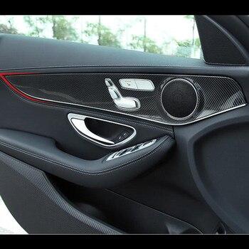 Carbon Fiber Style Car Door Panel Cover Trim 4pcs For Mercedes Benz C class W205 2015-18 ABS Auto Interior Modified knife