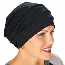 Эластичный Тюрбан из хлопка однотонная шляпа женский теплый зимний головной платок капот внутренние шапочки под хиджаб для женщин мусульманская оберточная головка