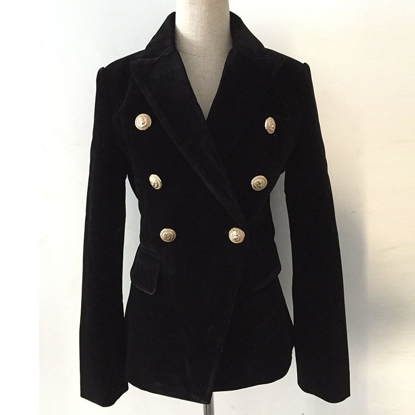 New High Quality Fashion Office Coat Woman Spring 2019 Long Sleeve Blazer Double Breasted Metal Button Gold Velvet Women Jacket