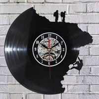 대형 장식 벽시계 비닐 레코드 시계 등반 모양 3d 아크릴 아트 시계 골동품 스타일 석영 시계 메커니즘 바늘