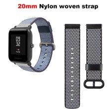 Купить с кэшбэком Nylon Bracelet Watchband Men Women Smart Watch Band 20MM Wrist Pulsera Correa Strap Black Wristbands Accessories Metal Buckle