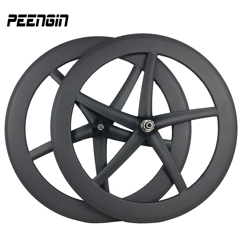 700C starfish 12K/3k carbon T800 <font><b>5</b></font> <font><b>spoke</b></font> <font><b>wheel</b></font> tubular road bike fixed gear carbon clincher five <font><b>spoke</b></font> track wheelset OEM decals image