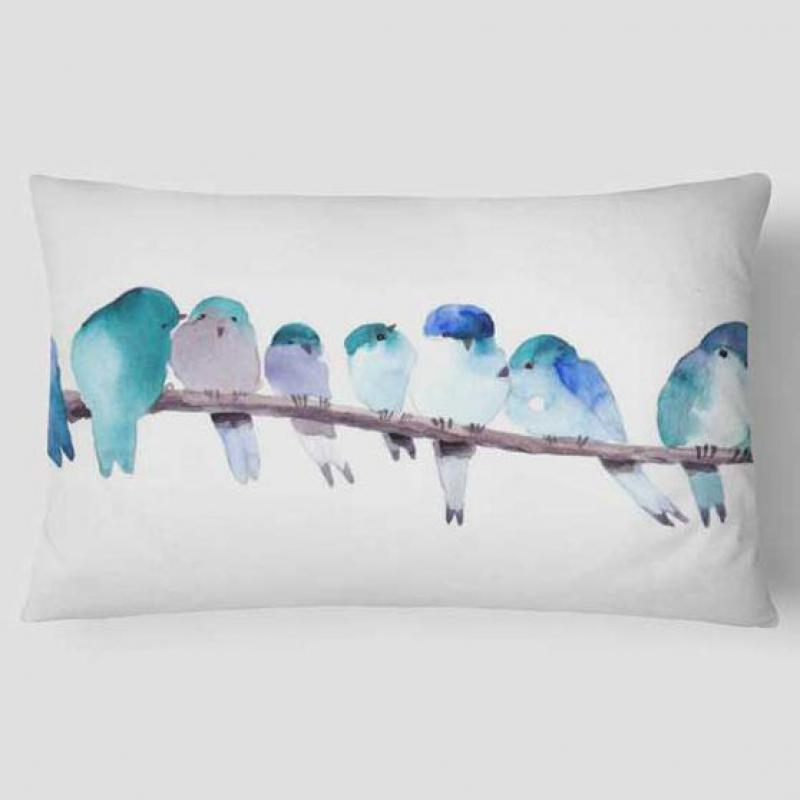 30x50 Watercolor Cushion Bird Unicorn Fish Pineapple Lotus Carp Leaf Cactus Garden Flowers Lavender Headrest Pillow Ink Mountain(China)