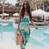 TEELYNN strap summer dresses for weomen green floral print sexy sleeveless long Boho dress Side slit beach dress hippie vestidos