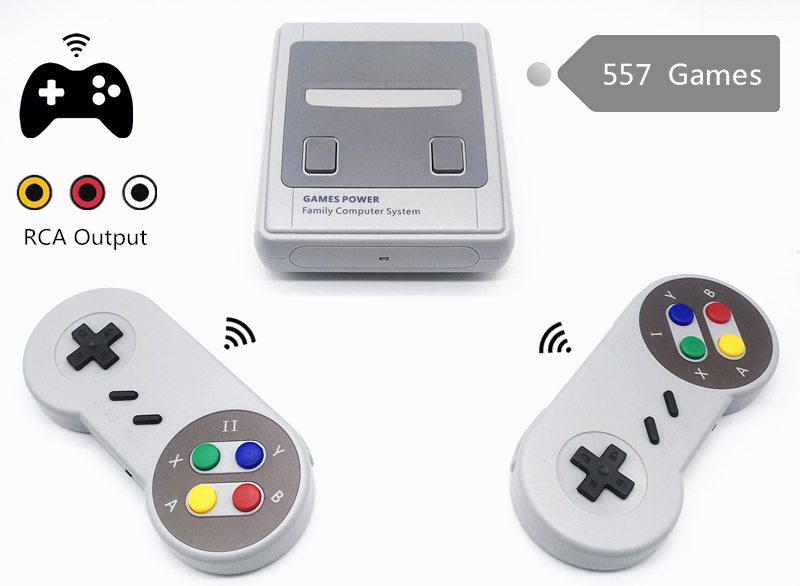 Wireless Retro Mini TV Video Game Console Retro Game Console For Nes 8 Bit Games with 557 Built-in Games Double Gamepads