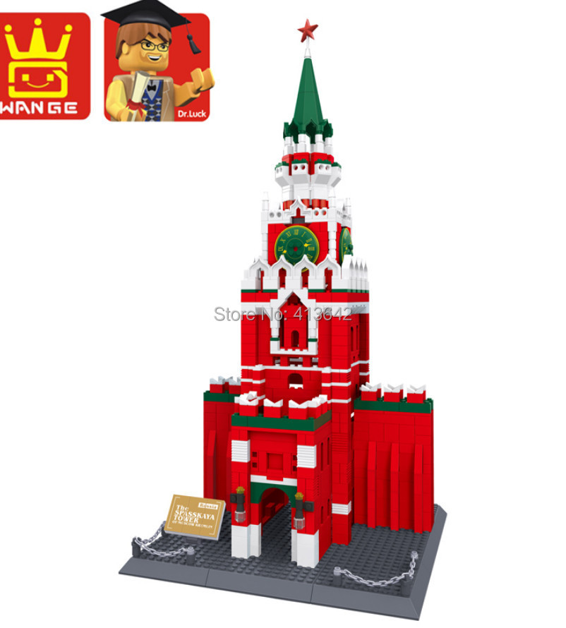 Wange the spasskaya tower of moscow kremlin Building Block 1048pcs World's great architecture series,toy No.8017 heart of moscow значок металлический снежинка