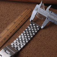 Watch bands 22mm 24mm 26mm New Men Silver Brushed Stainless Steel Watch Band Watch Straps Bracelets Double Lock Clasp safety new
