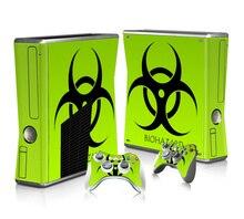 Protecteur dautocollant de peau de vinyle pour Microsoft Xbox 360 mince et 2 autocollants de peaux de contrôleur pour XBOX360 mince