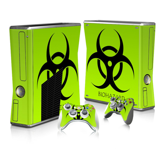 Vinyl Skin Sticker Protector for Microsoft Xbox 360 Slim and 2 Controller Skins Stickers for XBOX360 SLIM