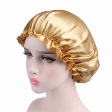 Women Satin Hair Bonnet Cap Shower Cap Cap Elastic Femme Lady Cap Hat For Bath Silk Head Cover Wide(China)
