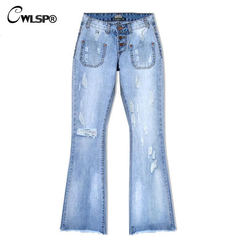 CWLSP Джинсы Женщина Свободные Широкую Ногу Flare Брюки Кисточкой Низкий талия Boyfriend Рваные джинсы для женщин Старинные Джинсовые Брюки femme QL2699