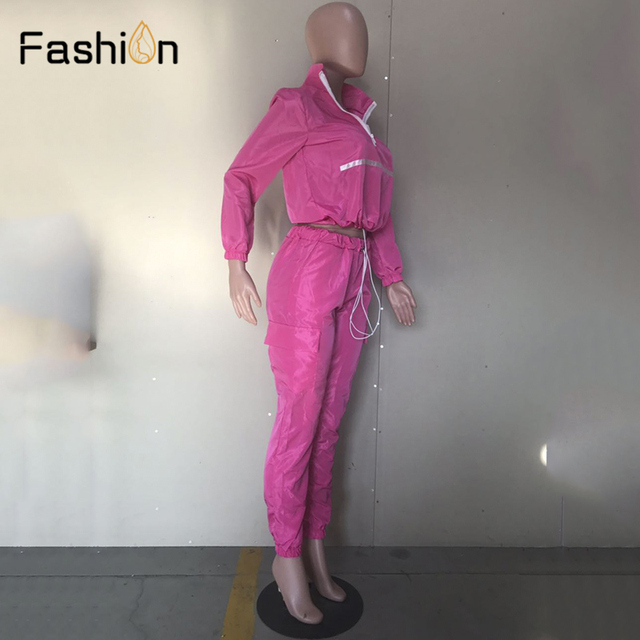 2019 New Women 2 piece Set Zip Up Neck Long Sleeve Short Trench Safari Long Pants Suits Two Pieces Set Sporting Tracksuit Outfit