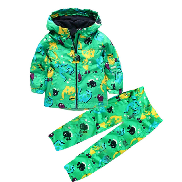 Children clothing set 2 pieces Hoodied+pants with cartoon pattern outerwear and outdoor for girls 2017 new spring clothes