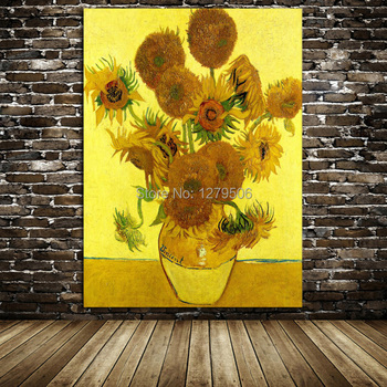 Hand Painted Copy Famous Oil Painting Vase With Twelve Sunflowers Van Gogh  High Quality Painting On Canvas Wall Art Home Decor