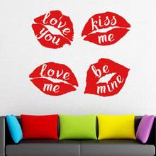 DIY Red Lips Decal, With Quotes Love You Kiss Me  Window Vinyl Sticker, Kissing Wall Mural Wallpaper 3070