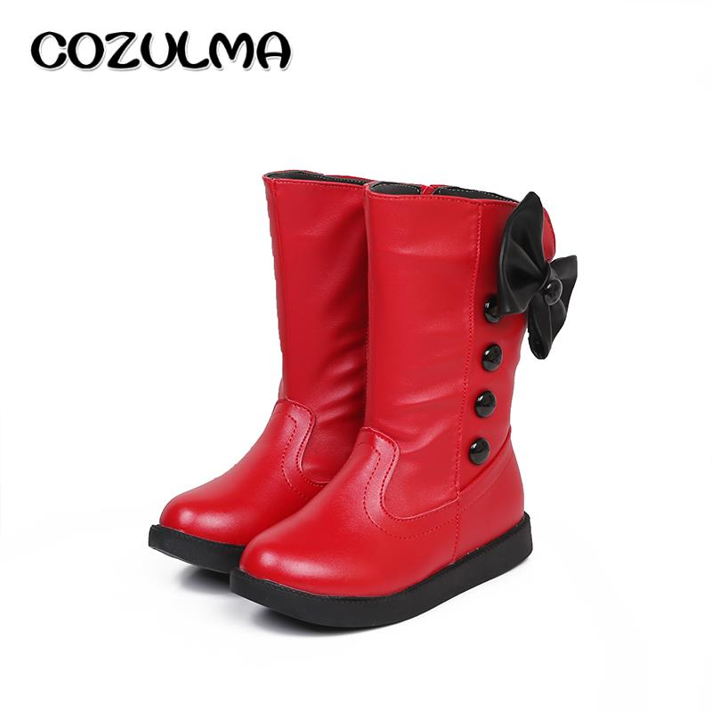 COZULMA Girls Spring Boots With Bow tie Warm Plush Kids Boots Winter Spring Boots For Kids High Cotton-Padded Girls Shoes
