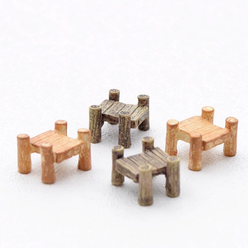 Artificial Wooden Bridge Fairy Garden Miniatures Gnomes Moss Terrariums  Resin Crafts Figurines For Home Decoration Accessories