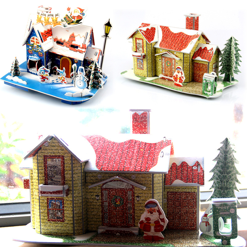 Christmas Miniatures.Us 4 99 20 Off 1 Set Diy Miniature Dollhouse 3d Christmas Miniature Figurines Foam Board House Christmas Decoration Kids New Year Gifts Toy In