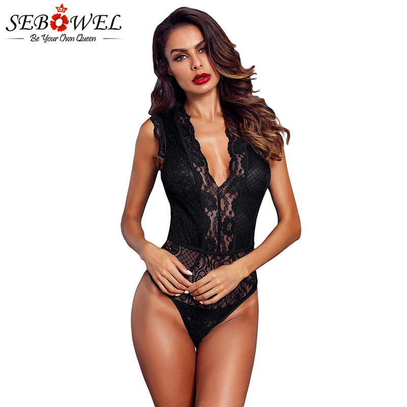 SEBOWEL Sexy Black Floral Lace Bodysuit Women Sleeveless Sheer Lace   Jumpsuit   Rompers Red Lace Body Suit See Through Body 2019
