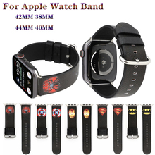 Marvel cartoon style strap For apple watch band 42/38mm leather 4 44/40mm bracelet iwatch series 5 3 2 1