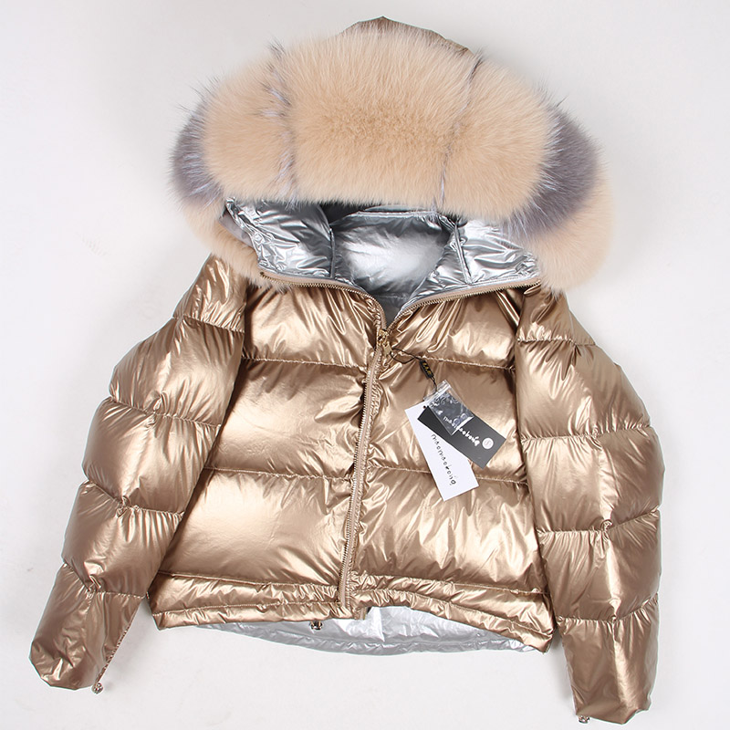 Winter Jacket Down-Coat Short Fox-Fur-Collar White-Duck-Down Natural Women Thick Warm