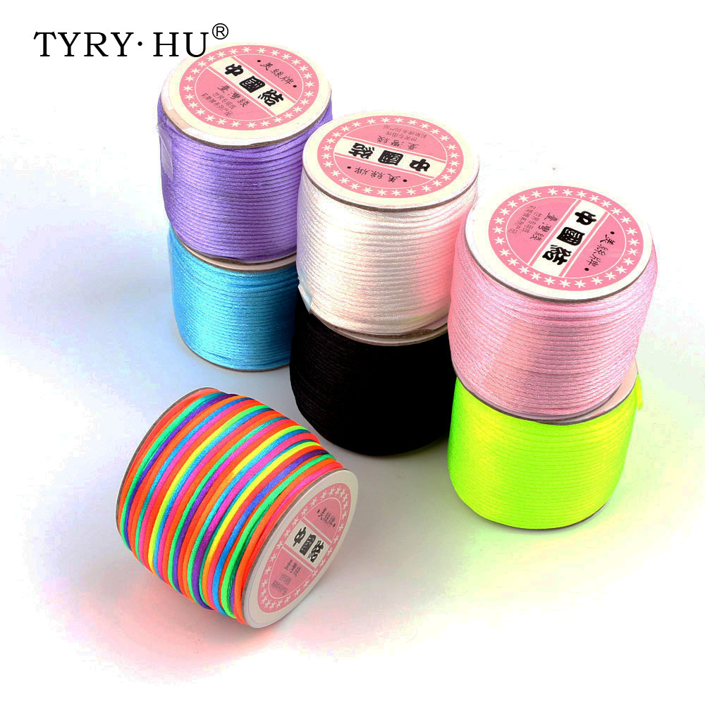TYRY.HU 45 Meters Satin Silk Rope 2mm Nylon Cord For Baby Pacifier Clips Teething Necklace Accessories Rattail Cord DIY Tool