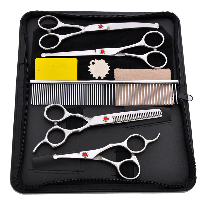 Purple Dragon 4.5/6.5 inch Dog Grooming Scissors Set Safety Rounded Tips Micro Smaller Scissor for Face Ear Nose & Paw Trimming