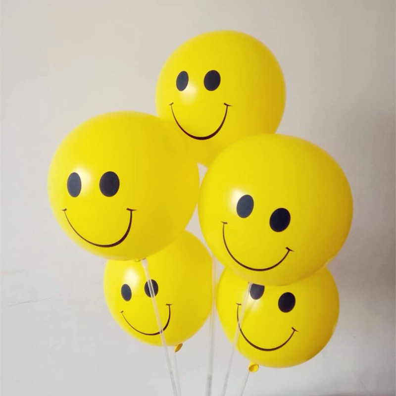 Smile balloon 50pcs/lot12 inch 2.8g round latex yellow ballons baby shower decorations kids baloons birthday party supplies