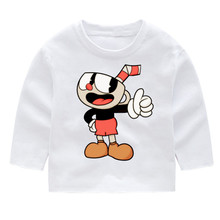 Cuphead Kids Print Cotton Fashion Long Sleeve Tshirts Tops Baby Girl Harajuku Clothes