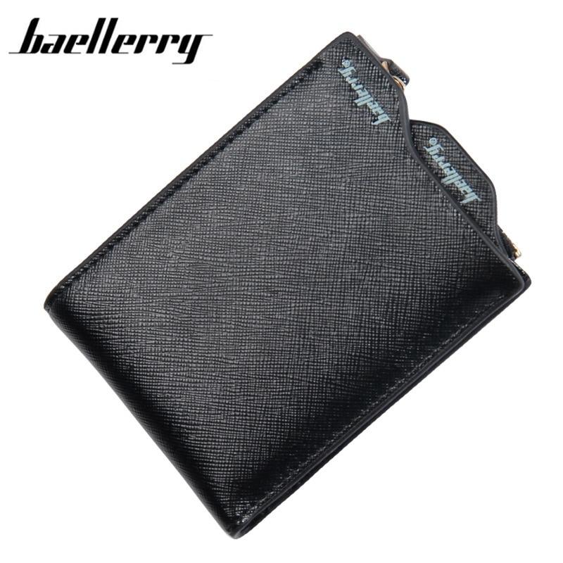 Baellerry Men wallets PU Scrub Cross patter men purse Clutch bag Photo Holder leather wallet short design men bag gift for men