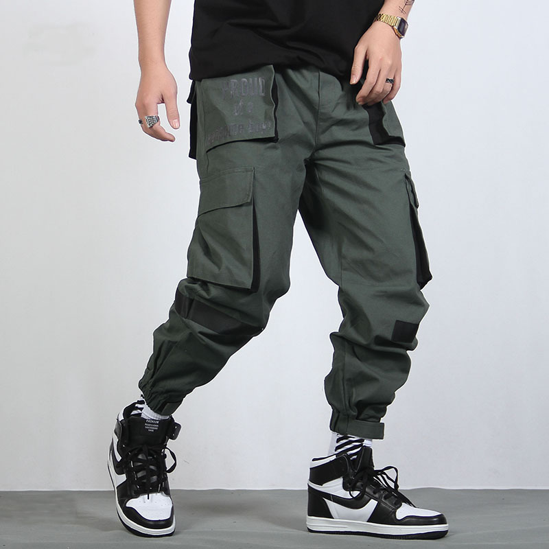 Black Pantalones Moda Arrancó Chándal army De Completa Mens Hip Longitud Hop Patchwork Harem Carga Green Bolsillos Hombre 68dqPwCC