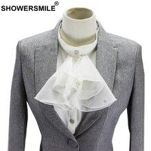 SHOWERSMILE Fake Collar Women Detachable Female White Vintage Palace Chiffon Shirt Office Ladies