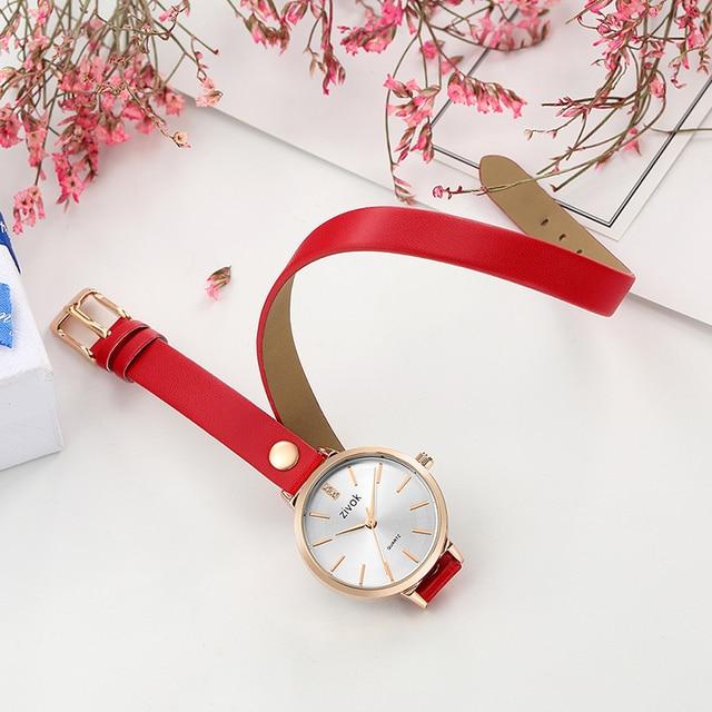 zivok Fashion Brand Women Bracelet Watch Red Long Leather Lovers Quartz Wrist Wa