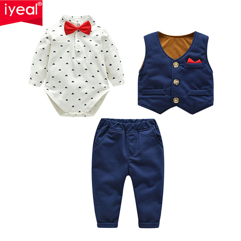 IYEAL Baby Boy Clothes 3 Pieces Suits Vest + Tie Rompers + Pants Fashion Gentleman Kids Newborn Formal Party Clothing Sets 0-24M