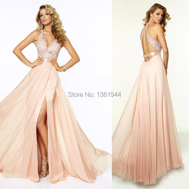 34f944be4208 2015 Fashion Style Sexy Open Back Peach Color Deep V Neck Appliques Evening  Dresess Vestido De Renda Long Flowy Prom Gown