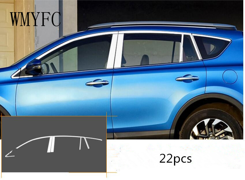 STAINLESS STELL SIDE DOOR BOTTOM WINDOW SILL TRIM COVER FIT FOR TOYOTA RAV4 2016 2017 2018 new stainless steel full window frame sill cover trim with center pillar 14pcs for mitsubishi outlander ex 2013 2014