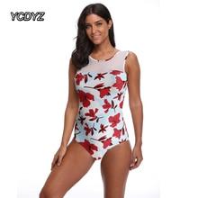 YCDYZ, Женский сдельный купальник,, принт, купальник, пляжная одежда, монокин, женский, сетчатый, спереди, купальный костюм, пляжный купальник, Maillot De Bain