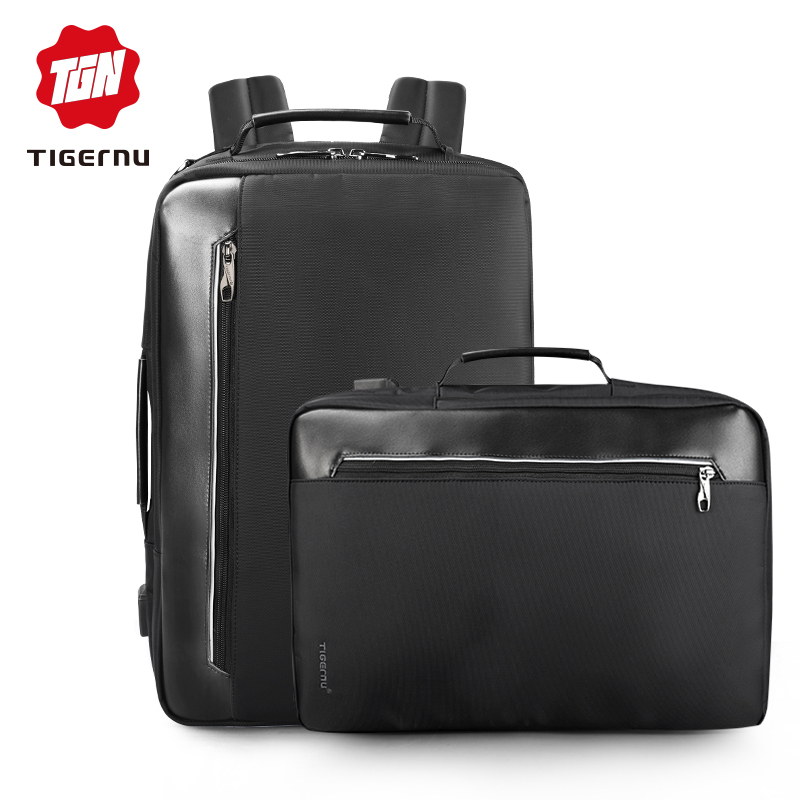 Tigernu 4 In 1 Multi Function Nylon Men's Business Shoulder Backpacks 15.6 Inch Usb Charging Laptop Bagpack Male Mochila Travel